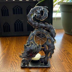 NWOT Black Cat 3D tea light candle holder
